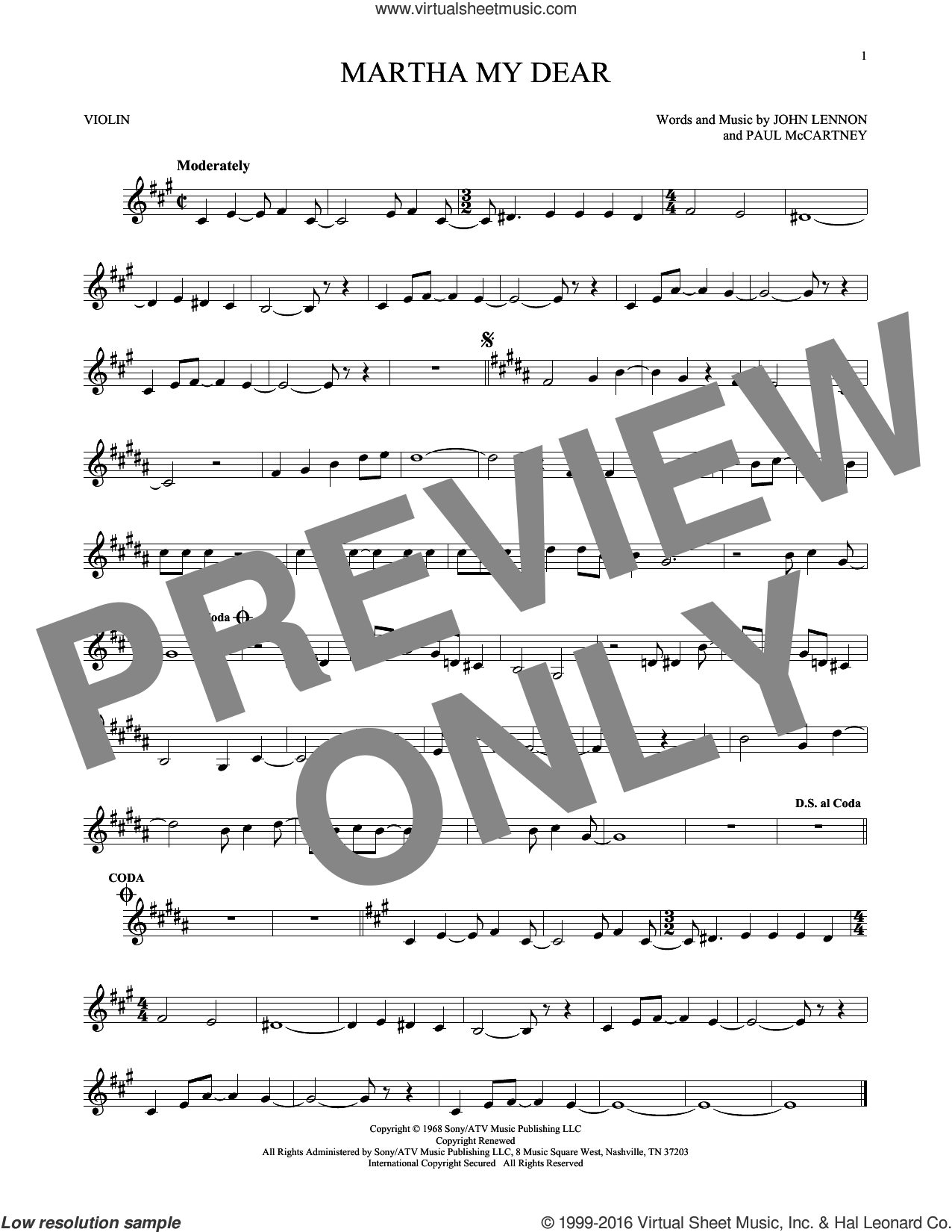 Martha My Dear sheet music for violin solo by The Beatles, John Lennon and Paul McCartney, intermediate skill level