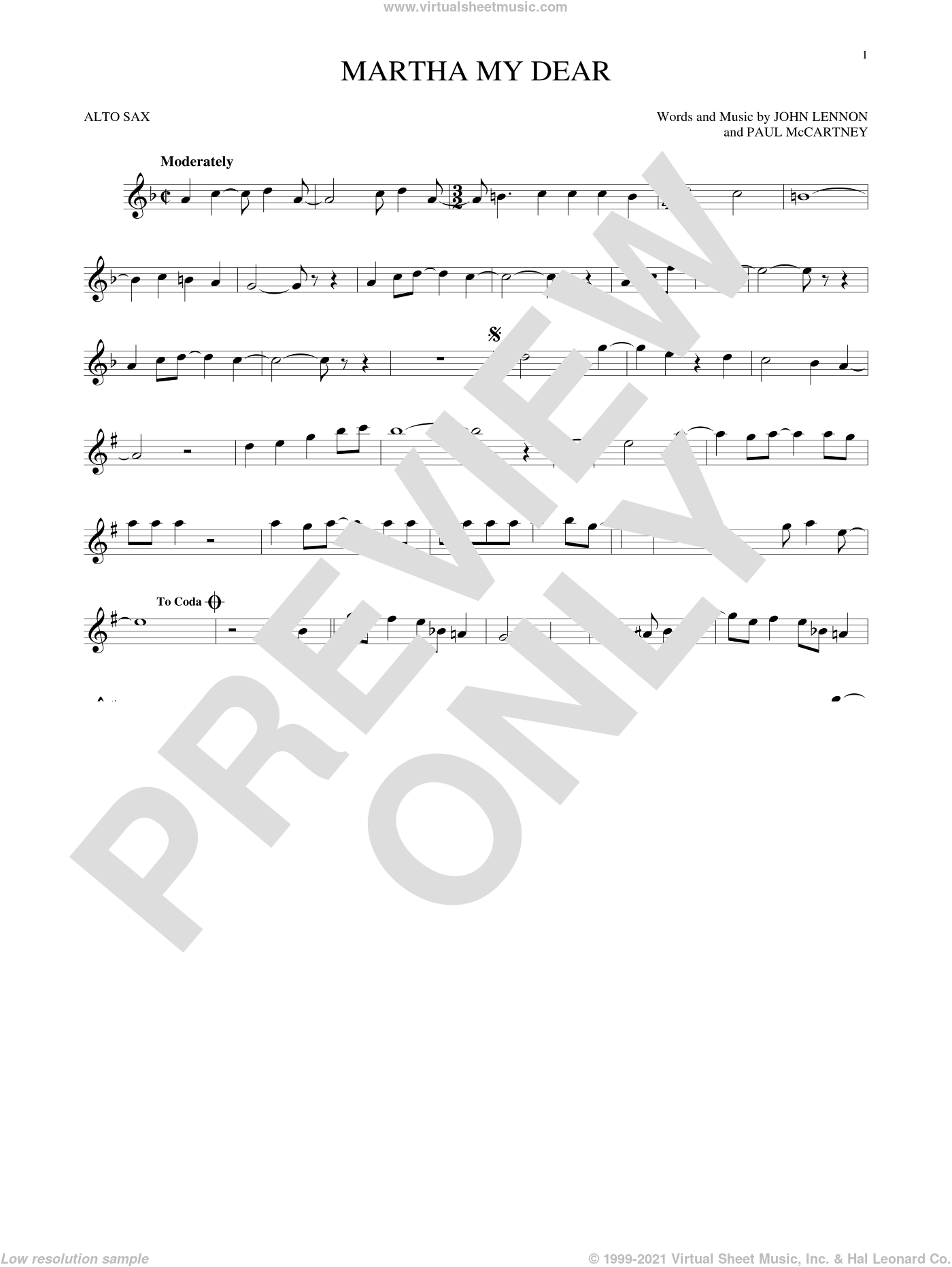 Martha My Dear sheet music for alto saxophone solo by The Beatles, John Lennon and Paul McCartney, intermediate skill level