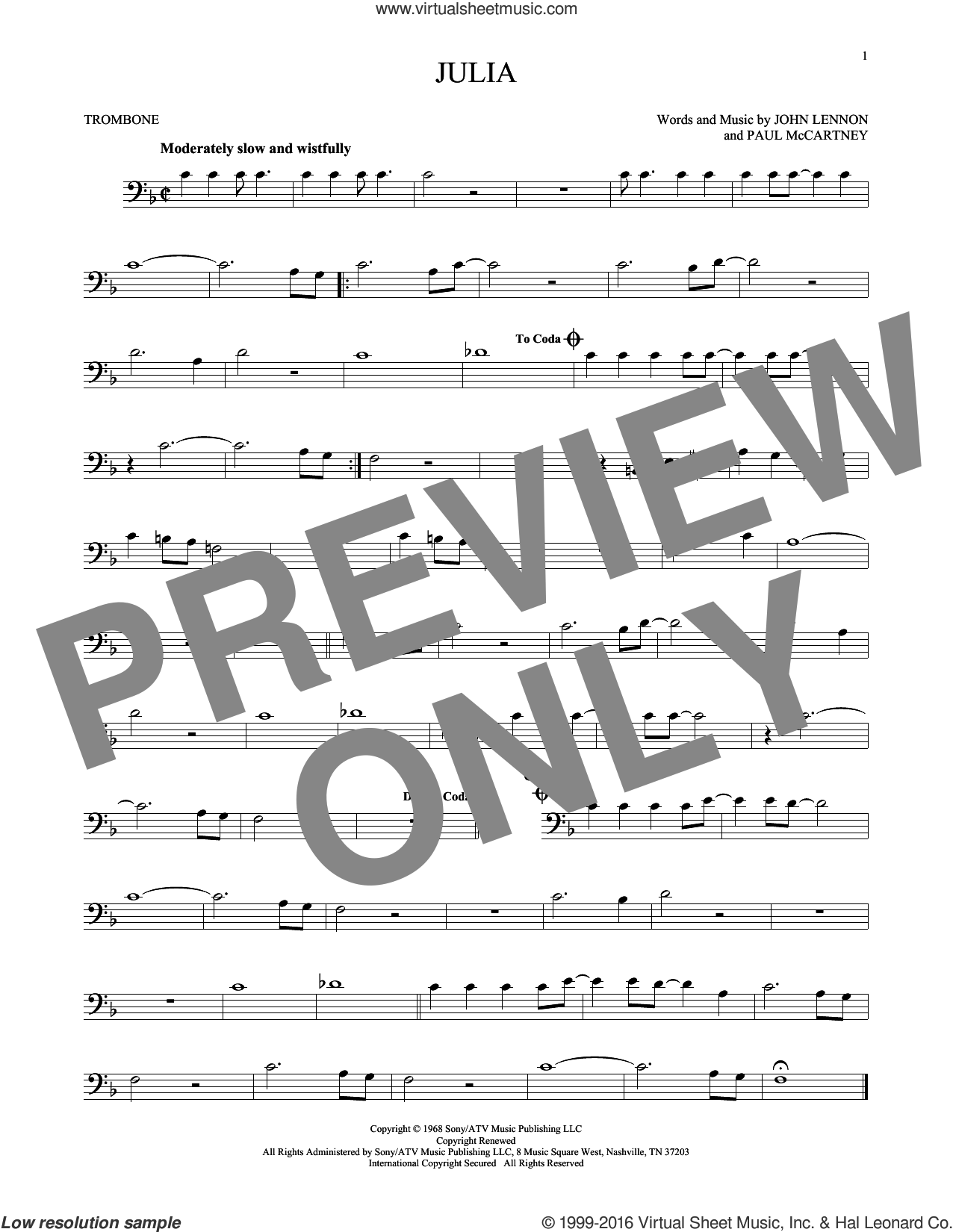 Julia sheet music for trombone solo by Paul McCartney, The Beatles and John Lennon. Score Image Preview.