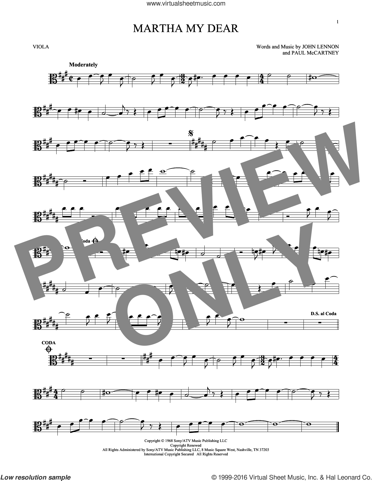 Martha My Dear sheet music for viola solo by The Beatles, John Lennon and Paul McCartney, intermediate. Score Image Preview.