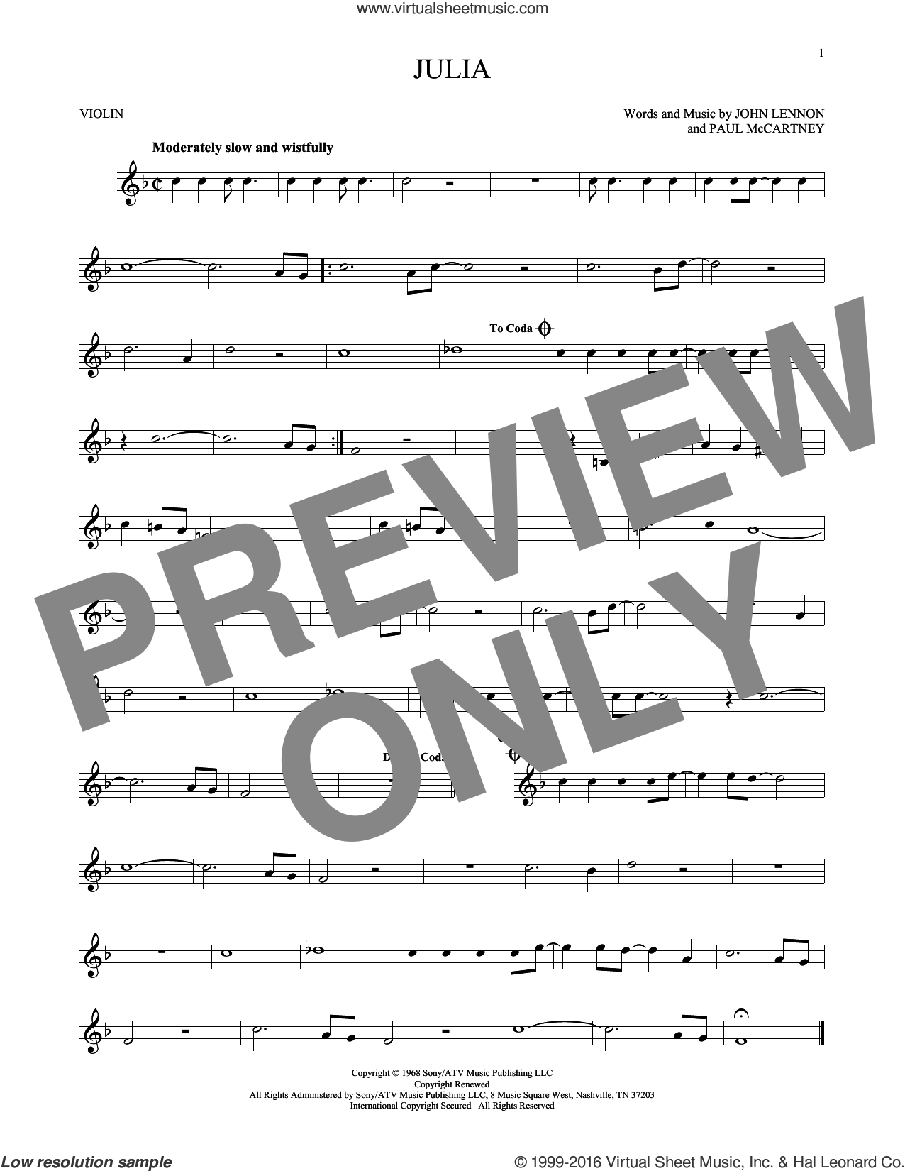 Julia sheet music for violin solo by The Beatles, John Lennon and Paul McCartney, intermediate. Score Image Preview.