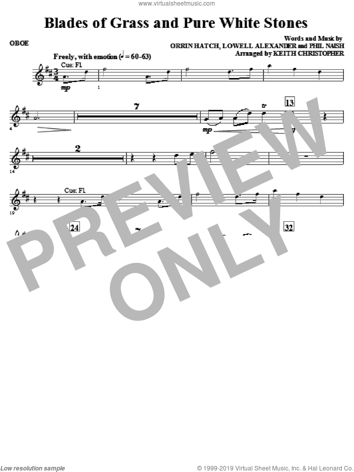 Blades Of Grass And Pure White Stones sheet music for orchestra/band (oboe) by Phil Naish