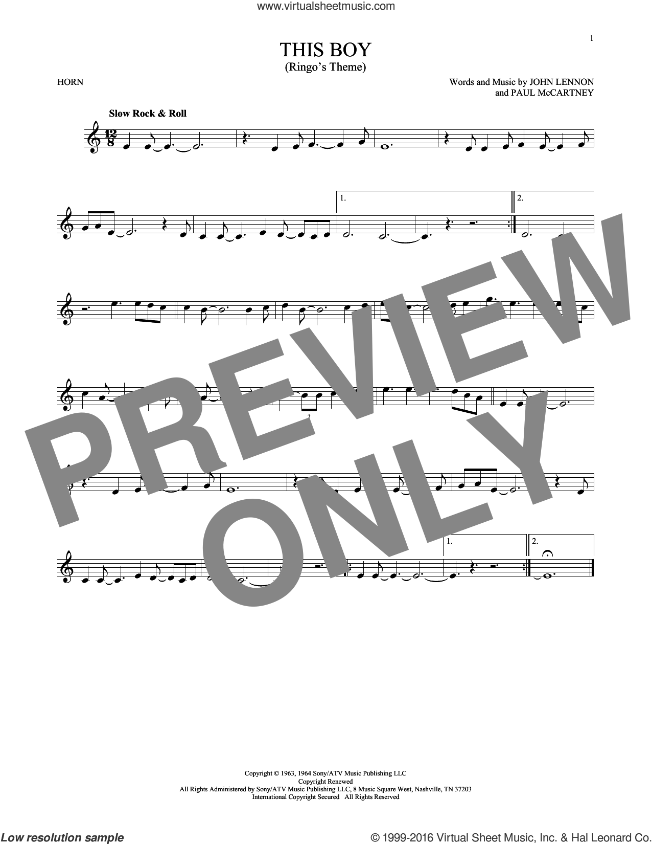 This Boy (Ringo's Theme) sheet music for horn solo by The Beatles, John Lennon and Paul McCartney, intermediate. Score Image Preview.