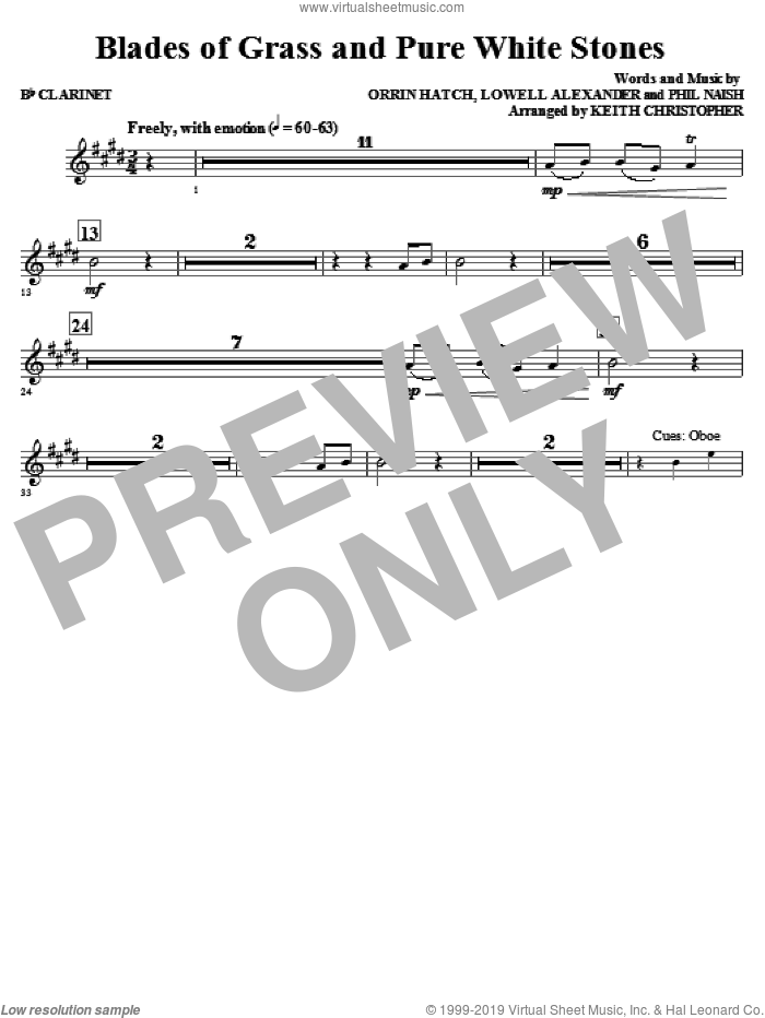 Blades Of Grass And Pure White Stones sheet music for orchestra/band (Bb clarinet) by Phil Naish