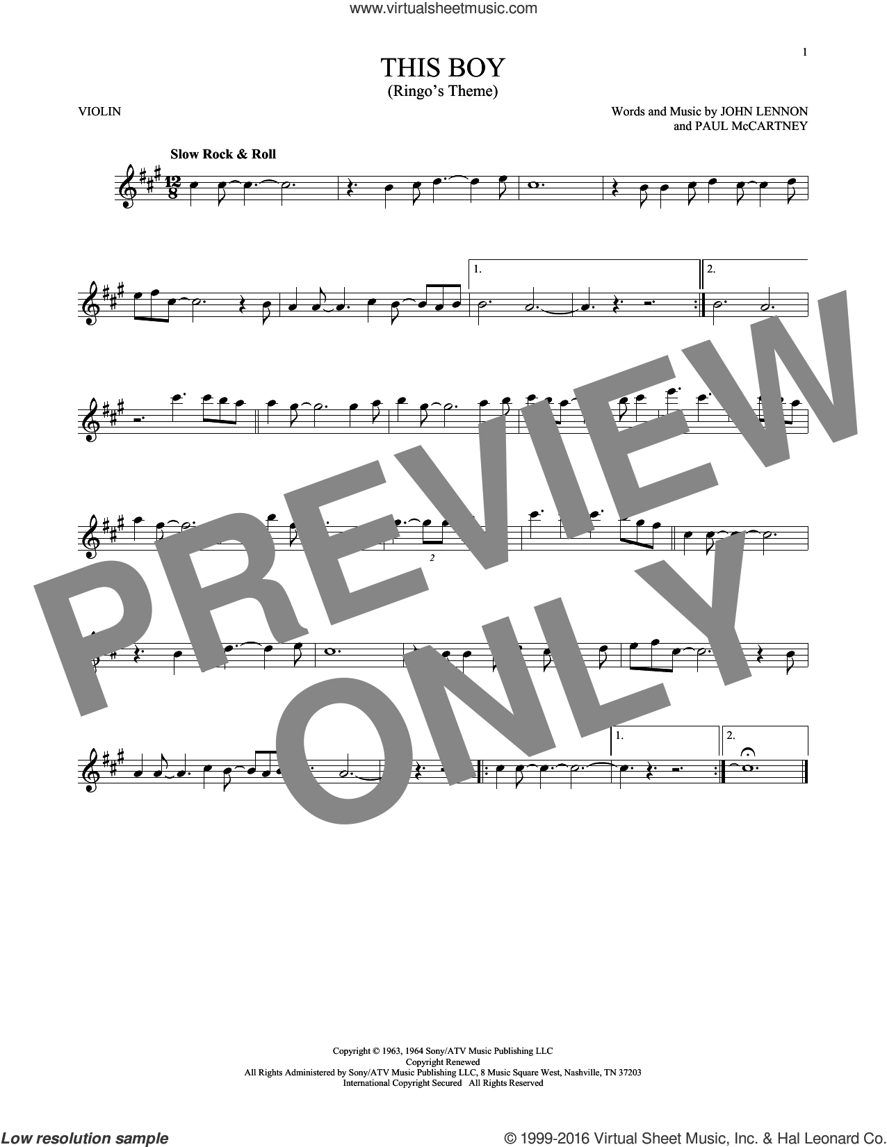This Boy (Ringo's Theme) sheet music for violin solo by The Beatles, John Lennon and Paul McCartney, intermediate violin. Score Image Preview.