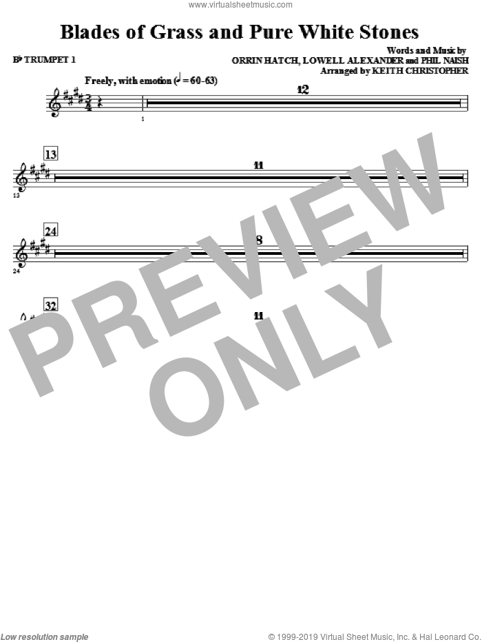 Blades Of Grass And Pure White Stones sheet music for orchestra/band (Bb trumpet 1) by Phil Naish