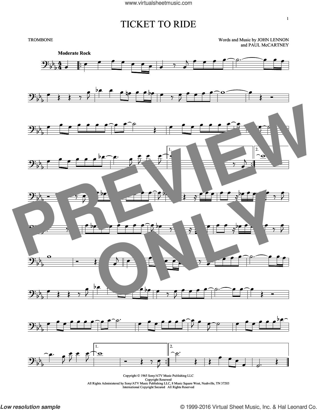Ticket To Ride sheet music for trombone solo by The Beatles, John Lennon and Paul McCartney, intermediate trombone. Score Image Preview.