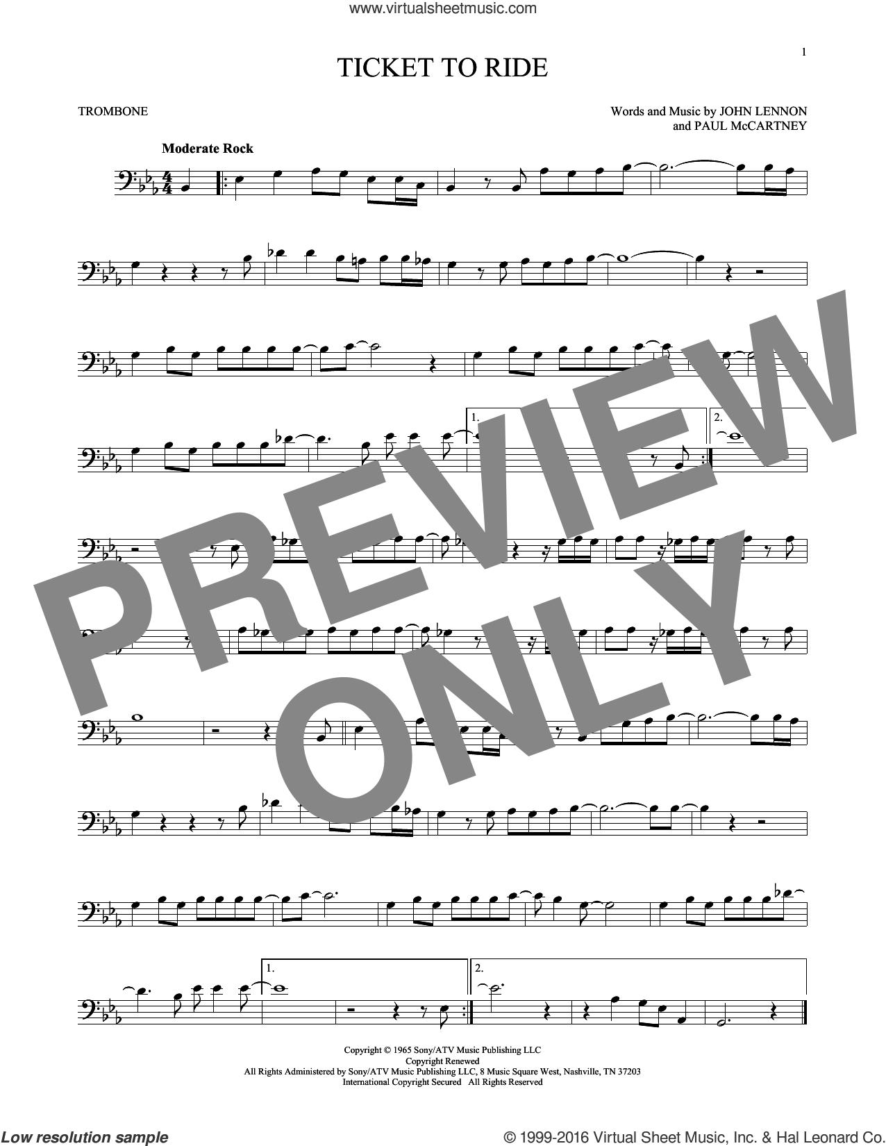 Ticket To Ride sheet music for trombone solo by The Beatles, John Lennon and Paul McCartney, intermediate skill level