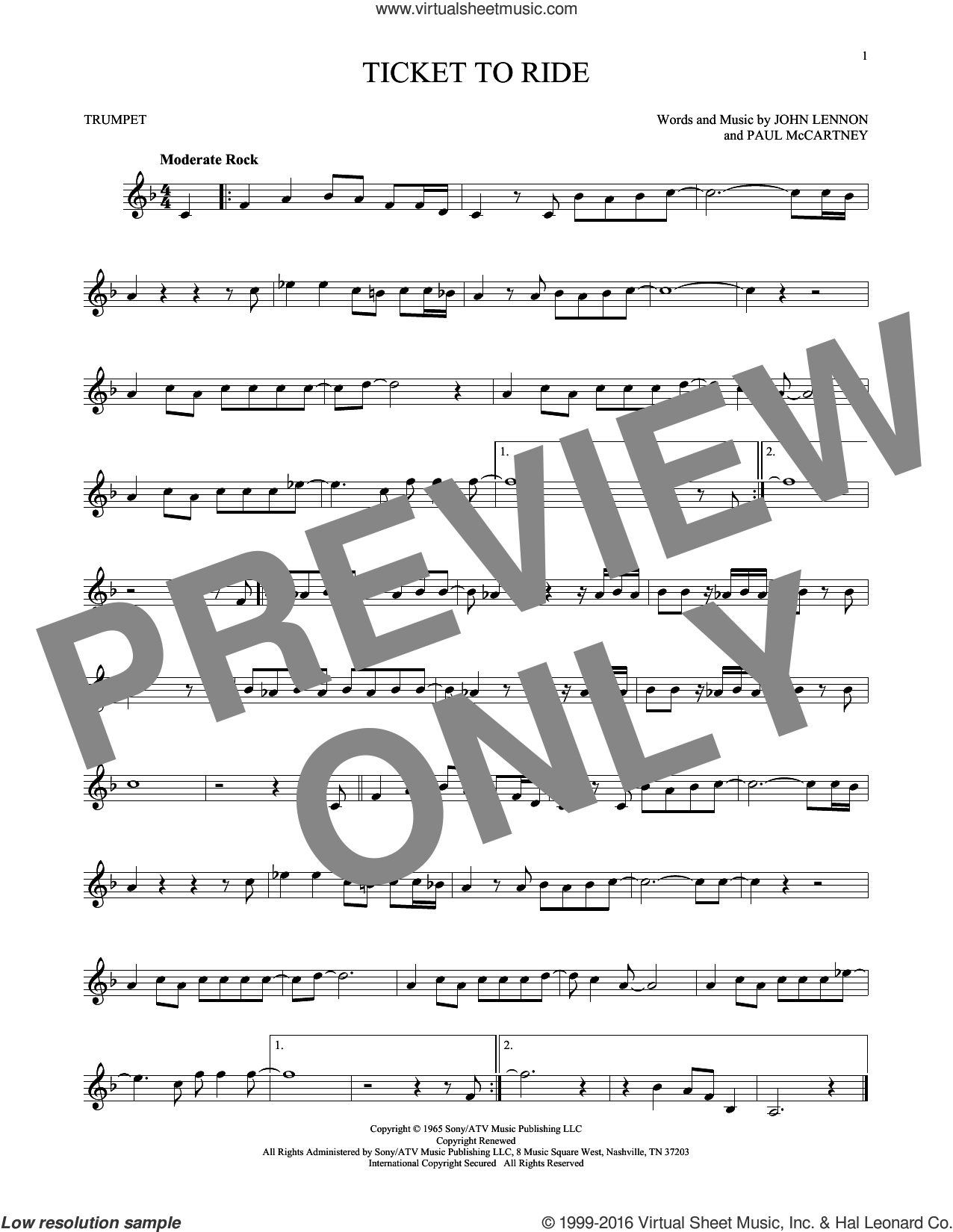 Ticket To Ride sheet music for trumpet solo by Paul McCartney, The Beatles and John Lennon. Score Image Preview.
