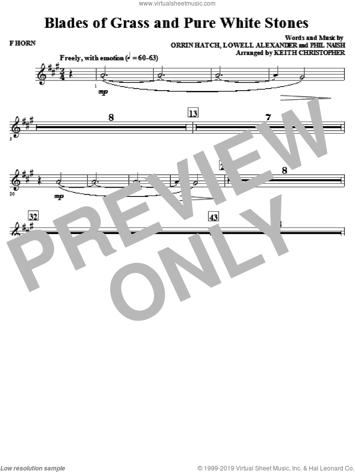 Blades Of Grass And Pure White Stones sheet music for orchestra/band (f horn) by Phil Naish