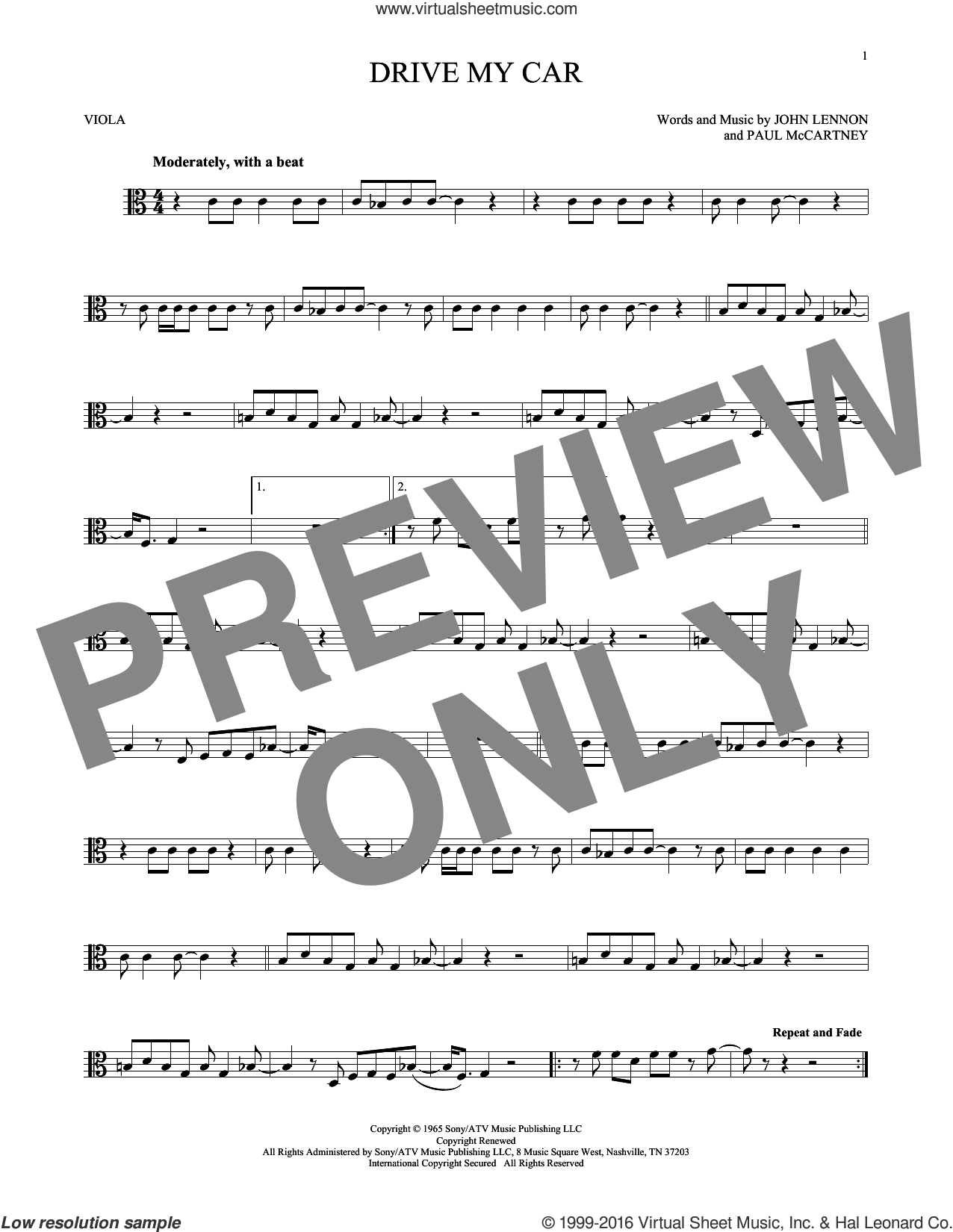 Drive My Car sheet music for viola solo by The Beatles, John Lennon and Paul McCartney, intermediate viola. Score Image Preview.