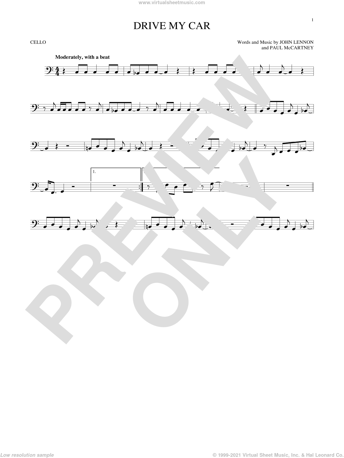Drive My Car sheet music for cello solo by The Beatles, John Lennon and Paul McCartney, intermediate skill level