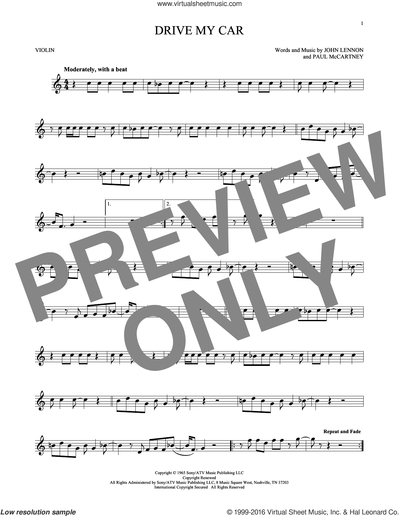 Drive My Car sheet music for violin solo by The Beatles, John Lennon and Paul McCartney, intermediate skill level