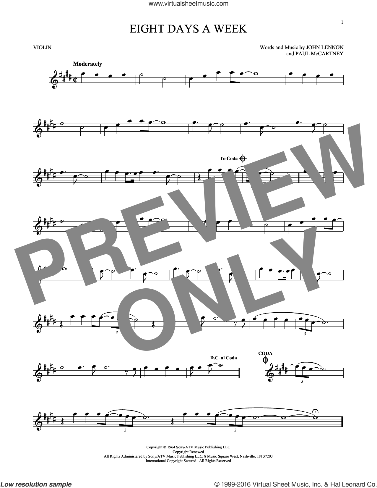 Eight Days A Week sheet music for violin solo by The Beatles, John Lennon and Paul McCartney, intermediate skill level
