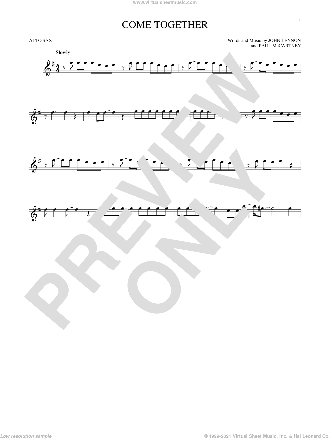 Come Together sheet music for alto saxophone solo by The Beatles, John Lennon and Paul McCartney. Score Image Preview.