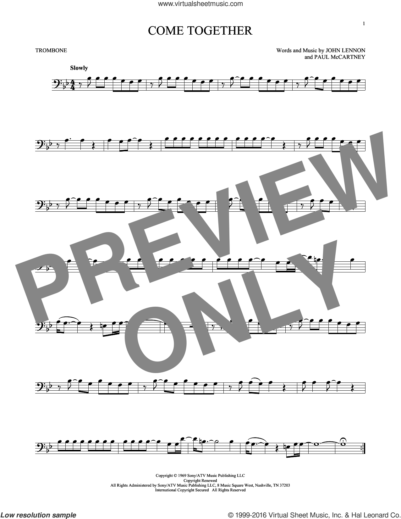 Come Together sheet music for trombone solo by The Beatles, John Lennon and Paul McCartney, intermediate skill level
