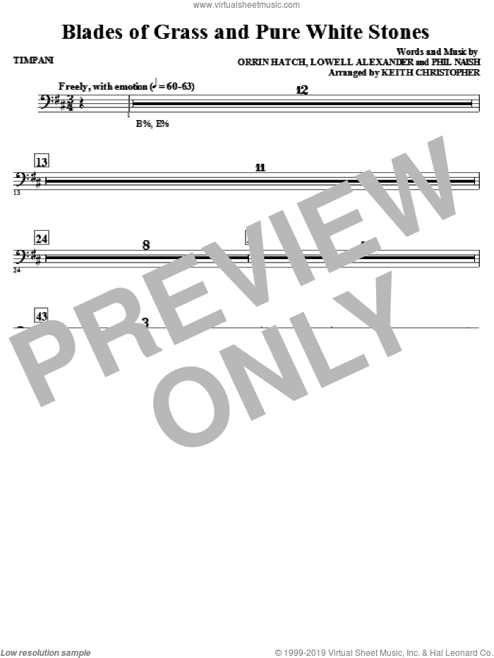 Blades Of Grass And Pure White Stones sheet music for orchestra/band (timpani) by Phil Naish