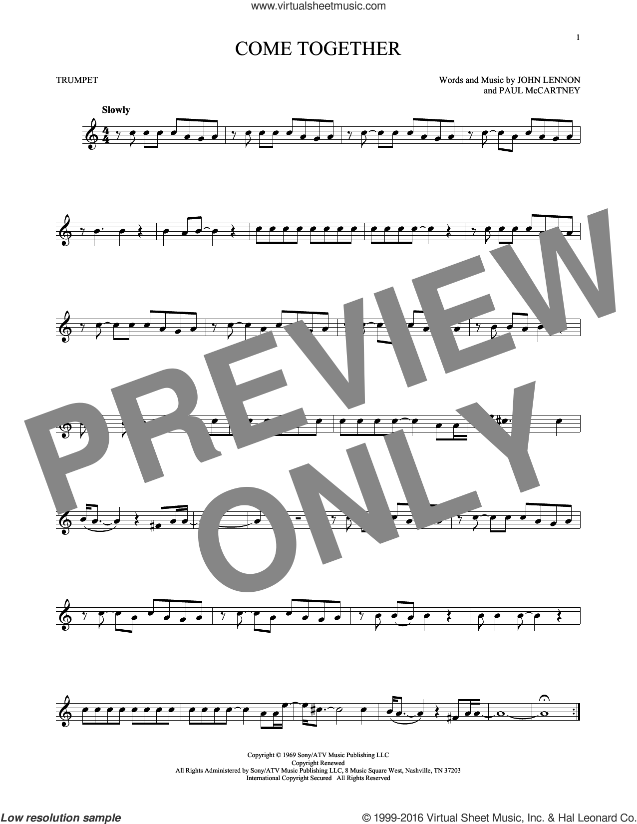 Come Together sheet music for trumpet solo by The Beatles, John Lennon and Paul McCartney, intermediate skill level