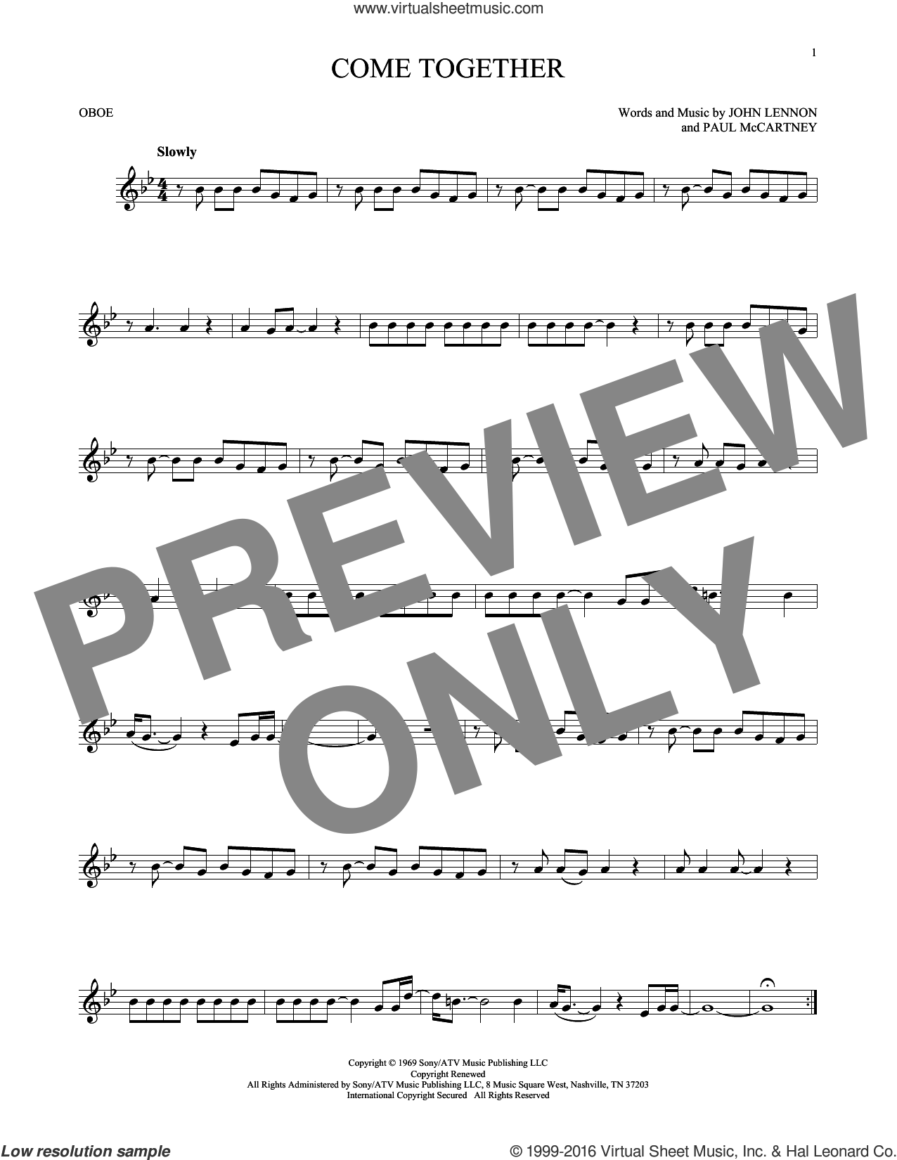 Come Together sheet music for oboe solo by The Beatles, John Lennon and Paul McCartney, intermediate skill level
