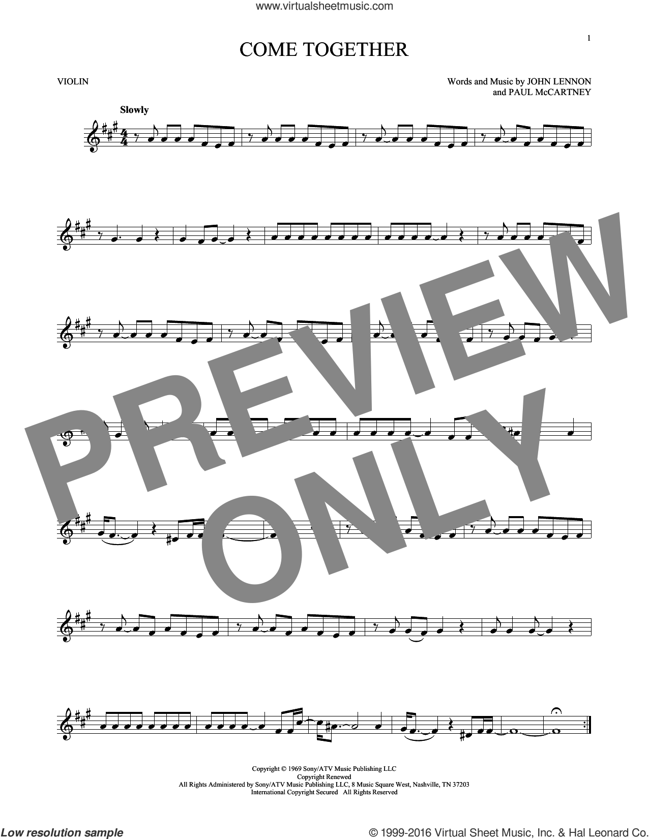 Come Together sheet music for violin solo by The Beatles, John Lennon and Paul McCartney, intermediate skill level