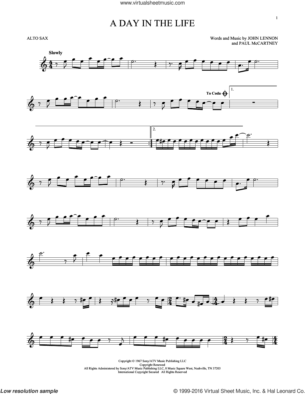 A Day In The Life sheet music for alto saxophone solo by The Beatles, John Lennon and Paul McCartney, intermediate skill level