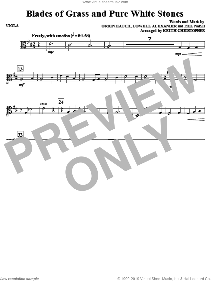 Blades Of Grass And Pure White Stones sheet music for orchestra/band (viola) by Phil Naish