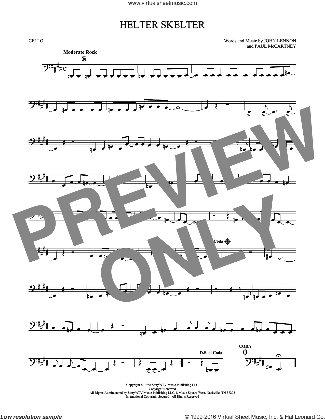 Helter Skelter sheet music for cello solo by The Beatles, John Lennon and Paul McCartney, intermediate skill level