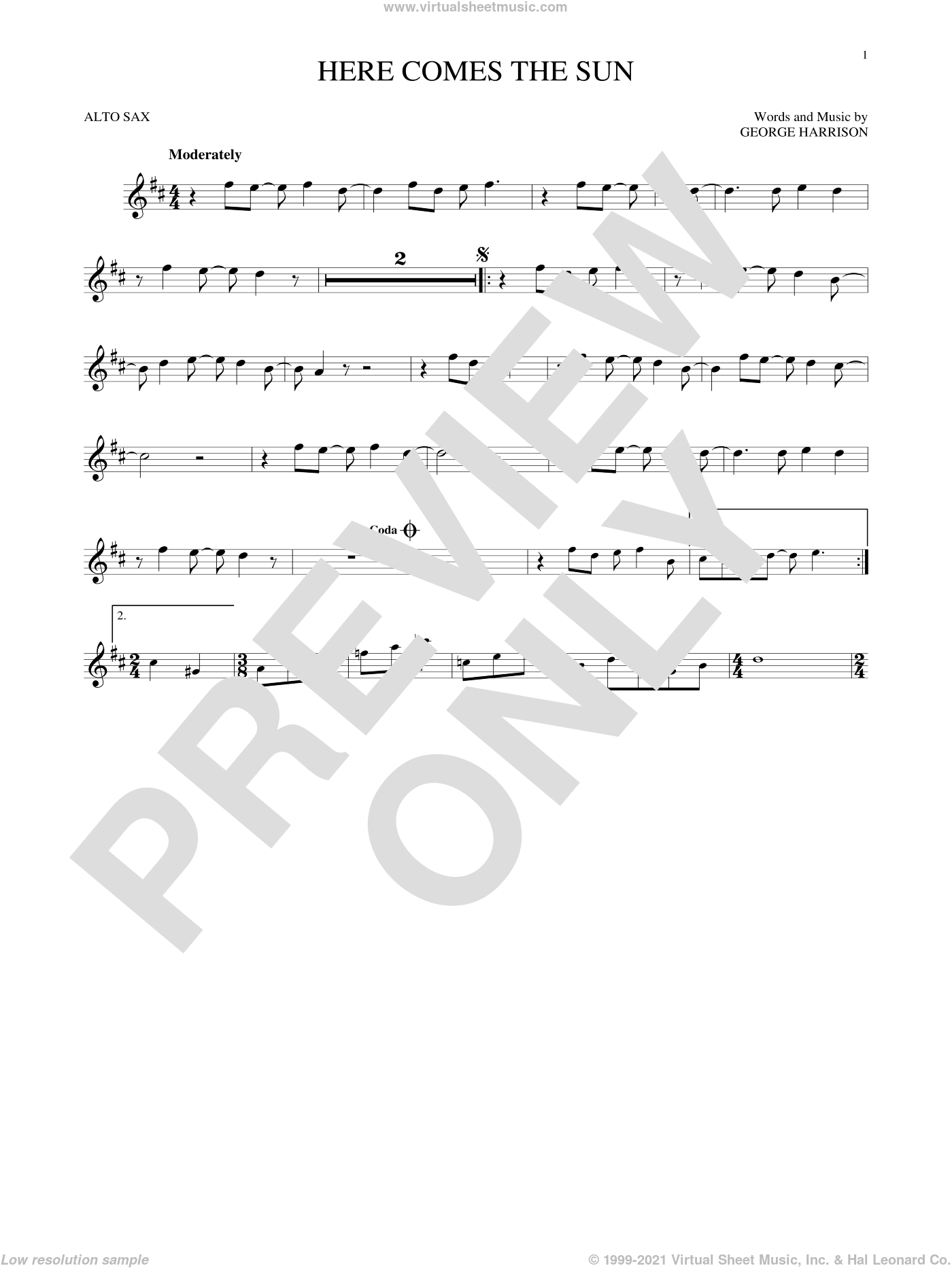 Here Comes The Sun sheet music for alto saxophone solo by George Harrison and The Beatles. Score Image Preview.