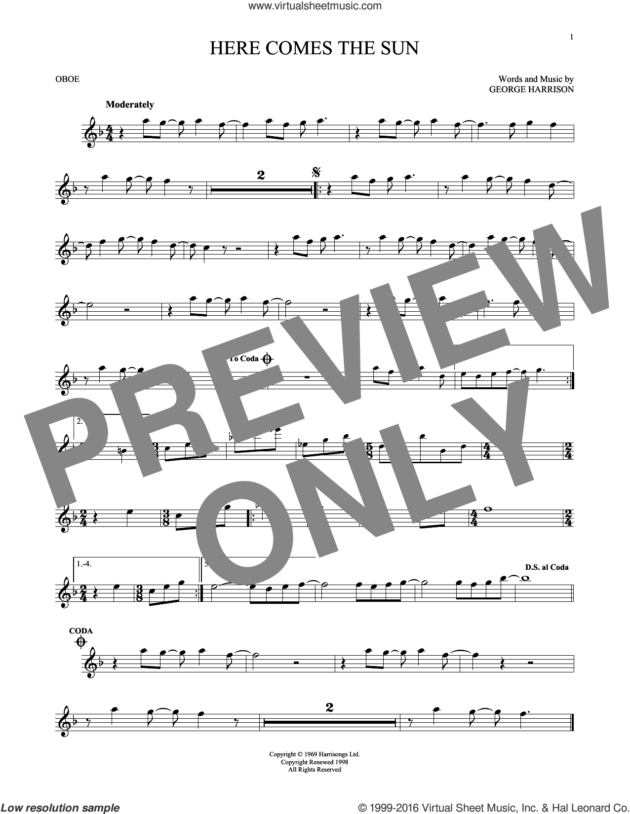 Here Comes The Sun sheet music for oboe solo by The Beatles and George Harrison. Score Image Preview.