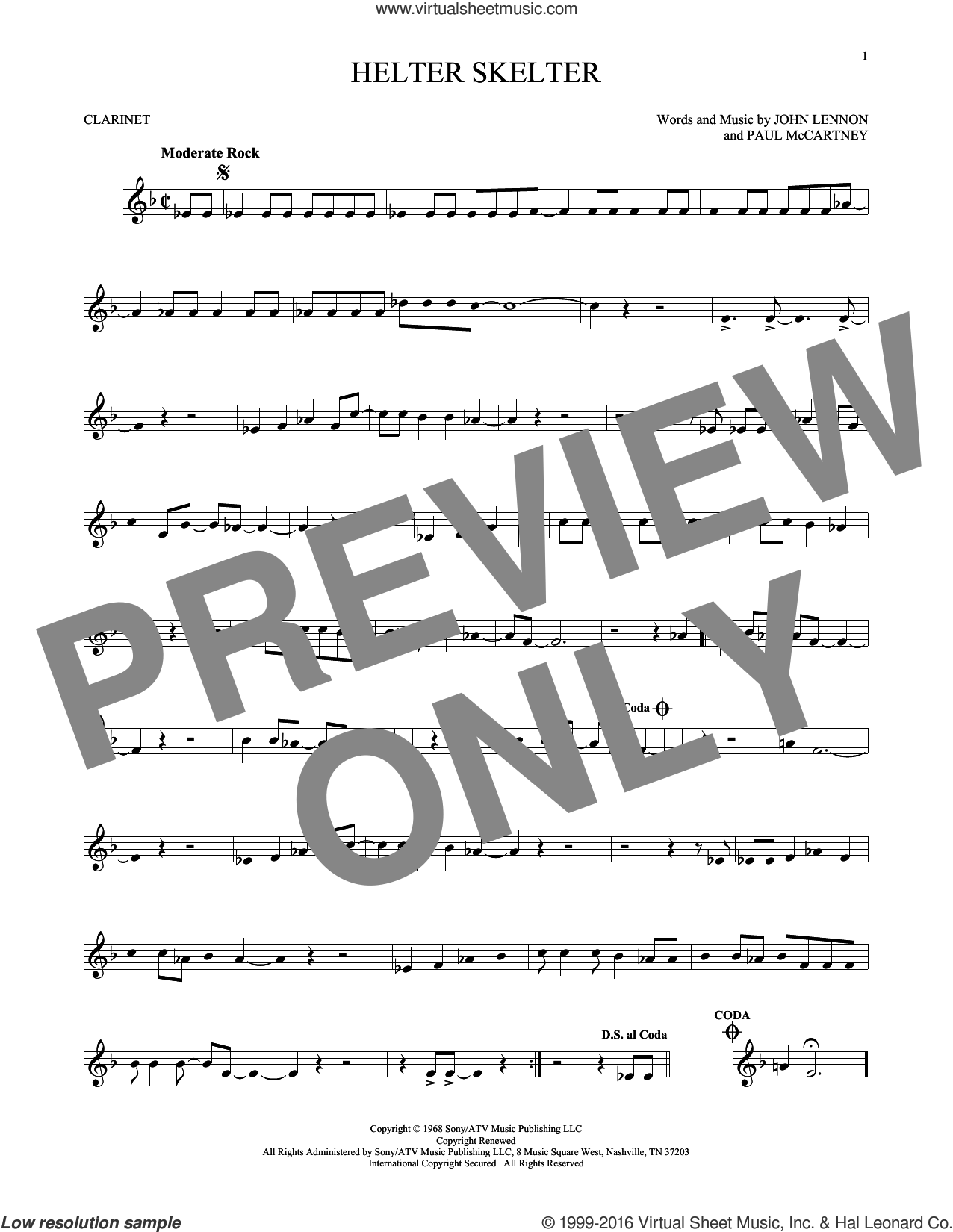Helter Skelter sheet music for clarinet solo by The Beatles, John Lennon and Paul McCartney, intermediate clarinet. Score Image Preview.