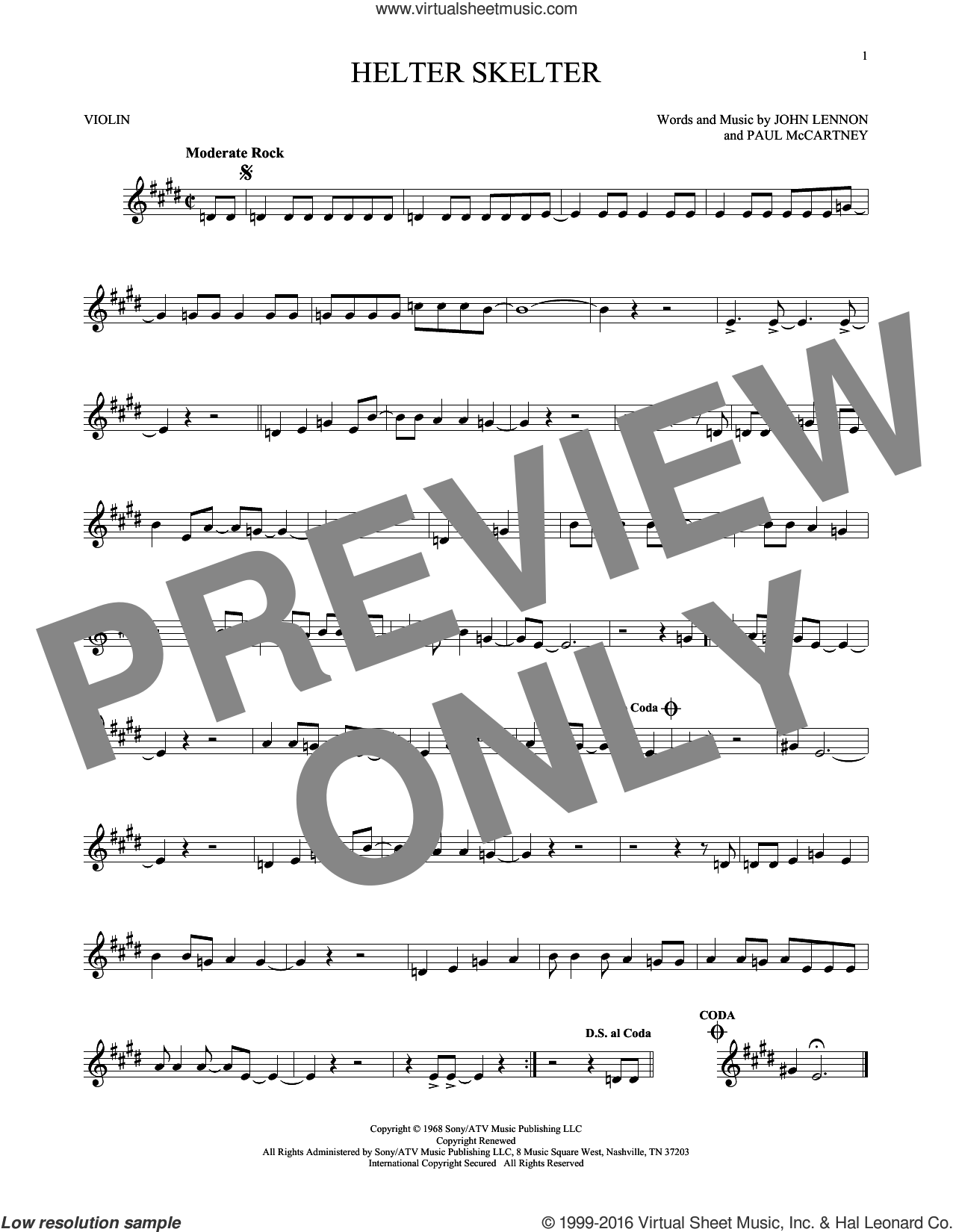 Helter Skelter sheet music for violin solo by Paul McCartney, The Beatles and John Lennon. Score Image Preview.