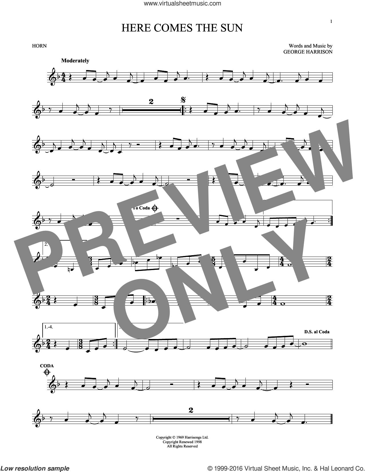 Here Comes The Sun sheet music for horn solo by The Beatles and George Harrison, intermediate. Score Image Preview.