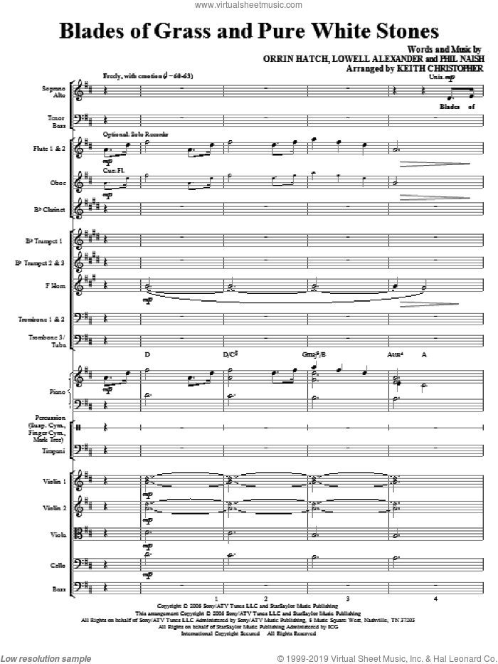 Blades Of Grass And Pure White Stones (COMPLETE) sheet music for orchestra/band (Orchestra) by Keith Christopher, Lowell Alexander, Orrin Hatch and Phil Naish, intermediate. Score Image Preview.