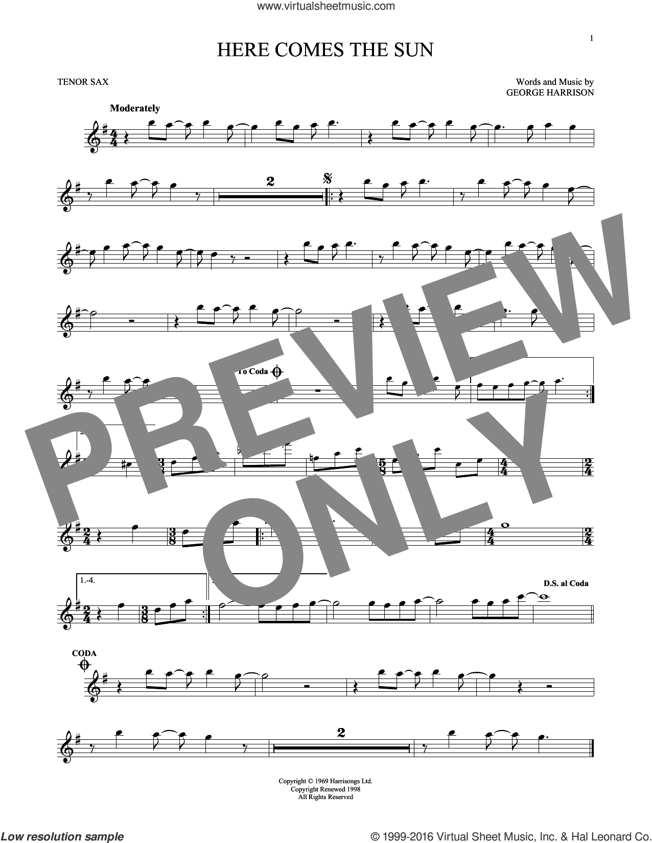 Here Comes The Sun sheet music for tenor saxophone solo by The Beatles and George Harrison, intermediate tenor saxophone. Score Image Preview.