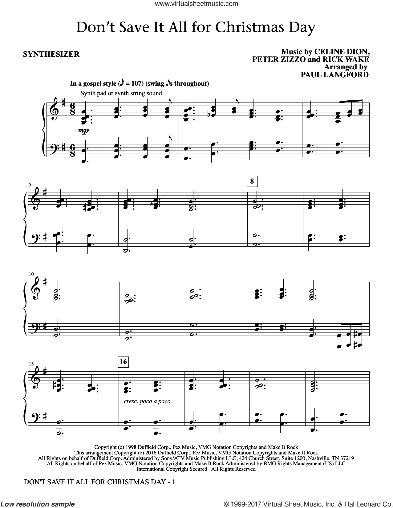 Don't Save It All for Christmas Day (complete set of parts) sheet music for orchestra/band by Celine Dion, Avalon, Paul Langford, Peter Zizzo and Ric Wake, intermediate skill level