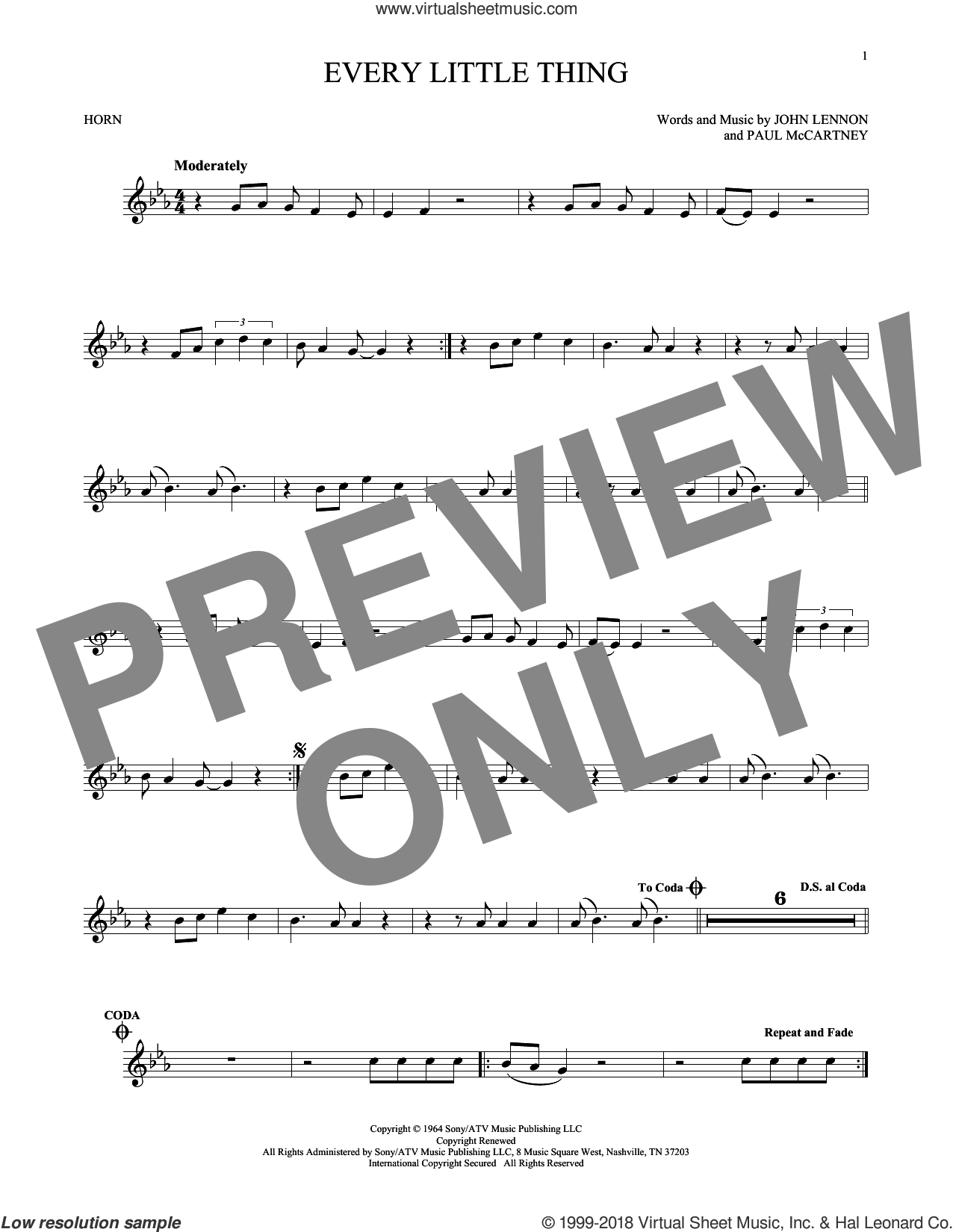 Every Little Thing sheet music for horn solo by The Beatles, John Lennon and Paul McCartney, intermediate. Score Image Preview.