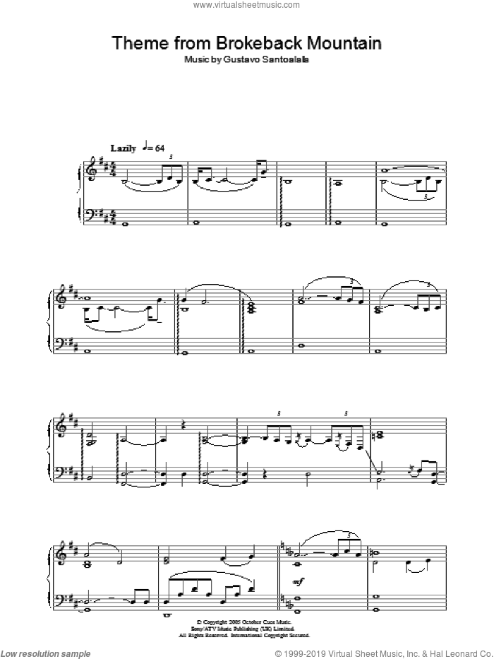 Theme from Brokeback Mountain sheet music for piano solo by Gustavo Santoalalla. Score Image Preview.