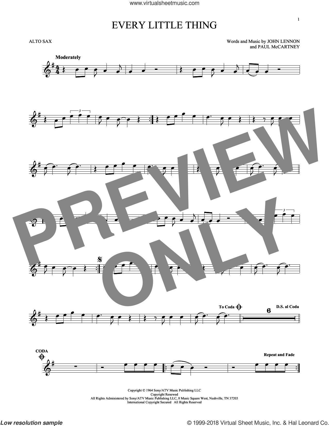 Every Little Thing sheet music for alto saxophone solo by The Beatles, John Lennon and Paul McCartney, intermediate alto saxophone. Score Image Preview.
