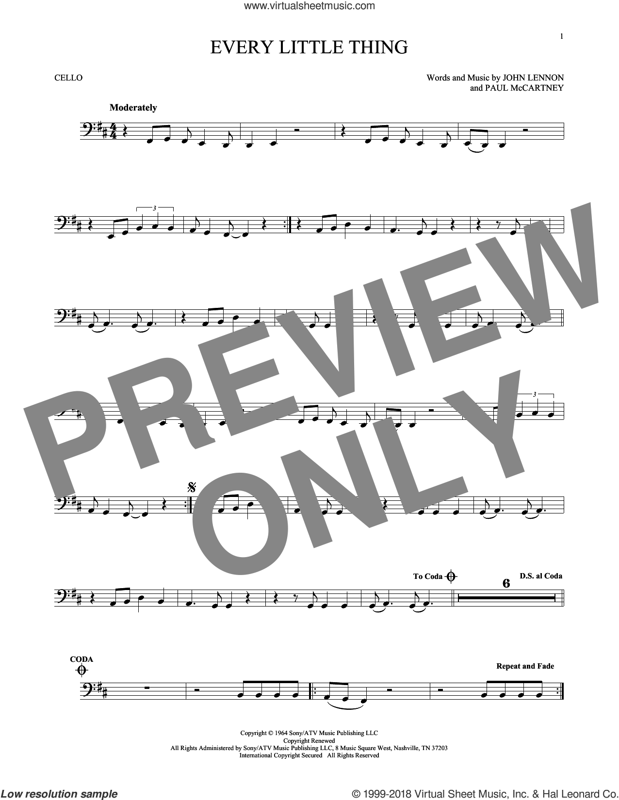 Every Little Thing sheet music for cello solo by The Beatles and Paul McCartney, intermediate skill level