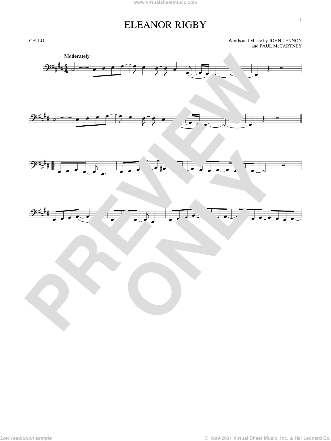 Eleanor Rigby sheet music for cello solo by Paul McCartney, The Beatles and John Lennon. Score Image Preview.