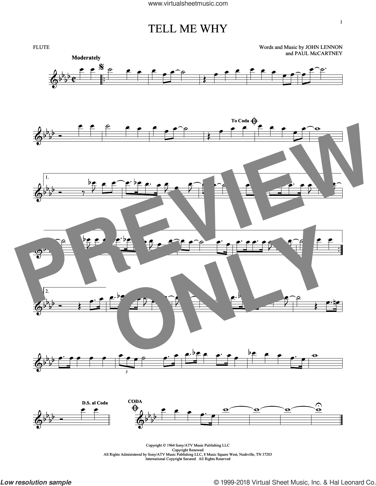 Tell Me Why sheet music for flute solo by The Beatles, John Lennon and Paul McCartney. Score Image Preview.