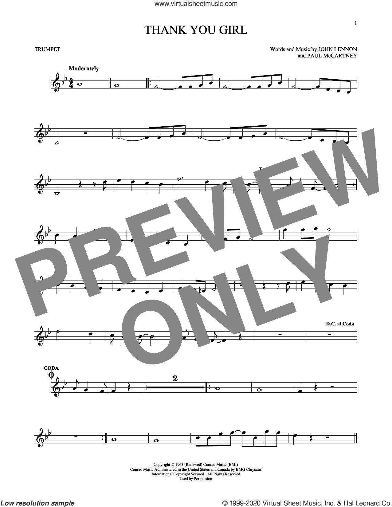 Thank You Girl sheet music for trumpet solo by The Beatles, John Lennon and Paul McCartney, intermediate skill level