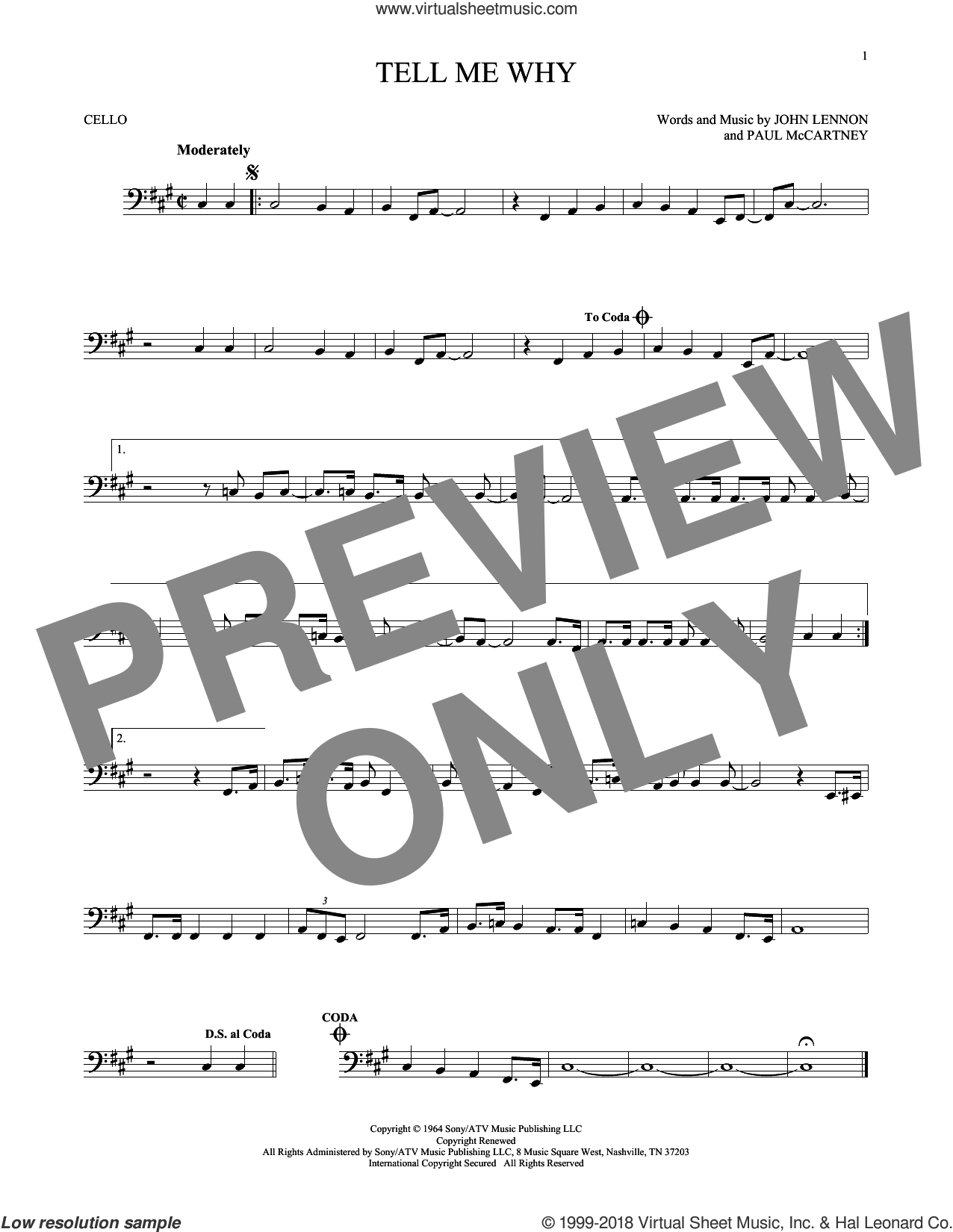 Tell Me Why sheet music for cello solo by Paul McCartney, The Beatles and John Lennon. Score Image Preview.