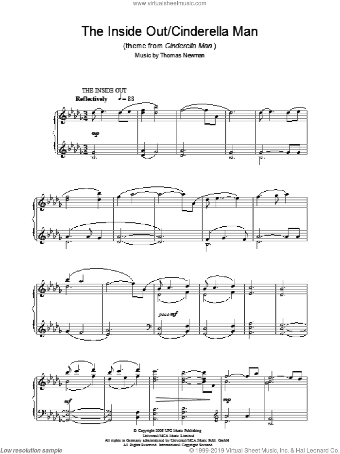 The Inside Out/Cinderella Man (theme from Cinderella Man) sheet music for piano solo by Thomas Newman, intermediate piano. Score Image Preview.