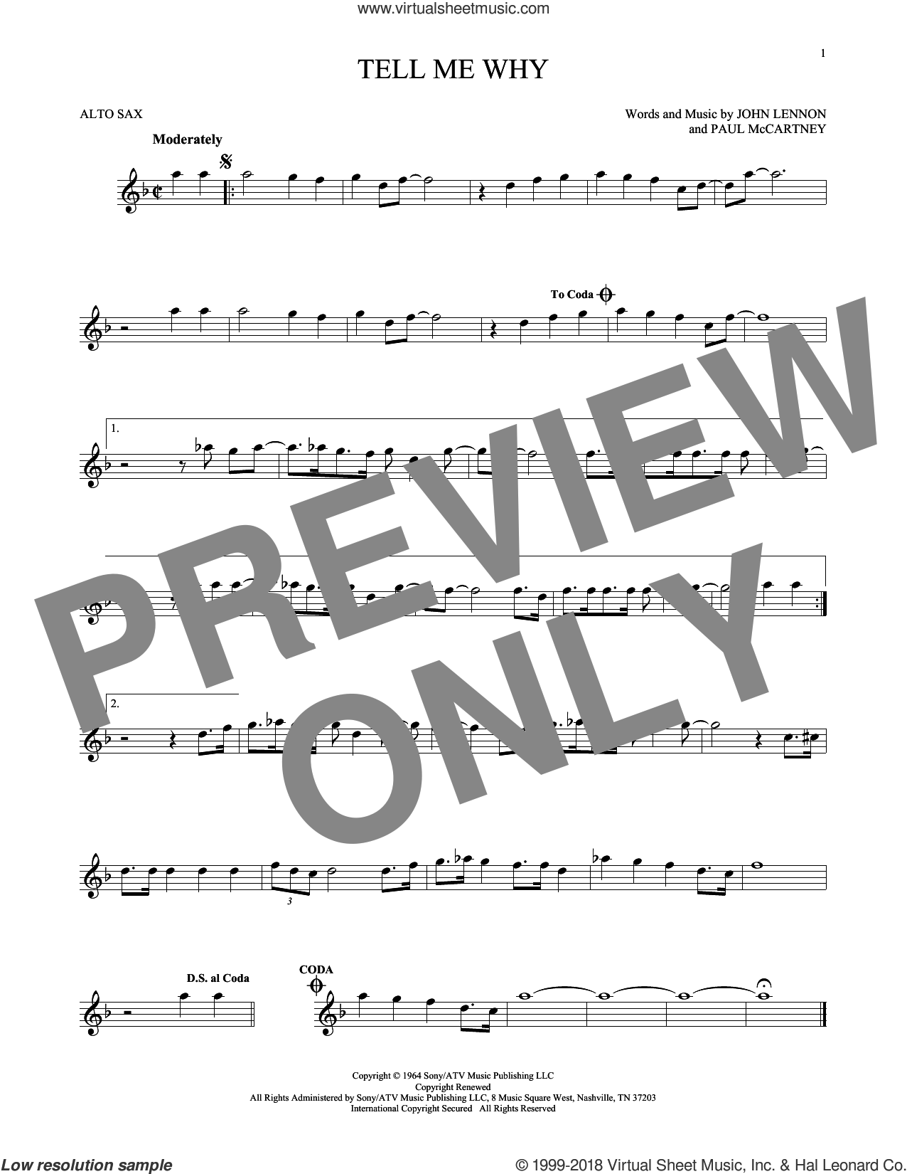 Tell Me Why sheet music for alto saxophone solo by Paul McCartney, The Beatles and John Lennon. Score Image Preview.