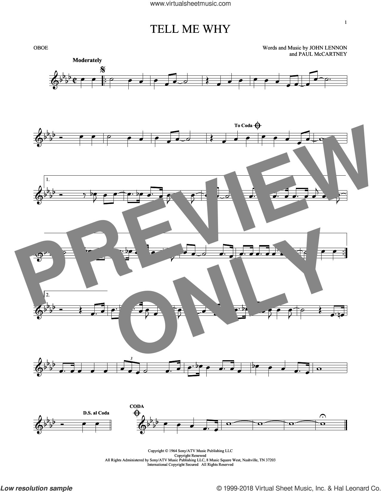 Tell Me Why sheet music for oboe solo by The Beatles, John Lennon and Paul McCartney, intermediate skill level