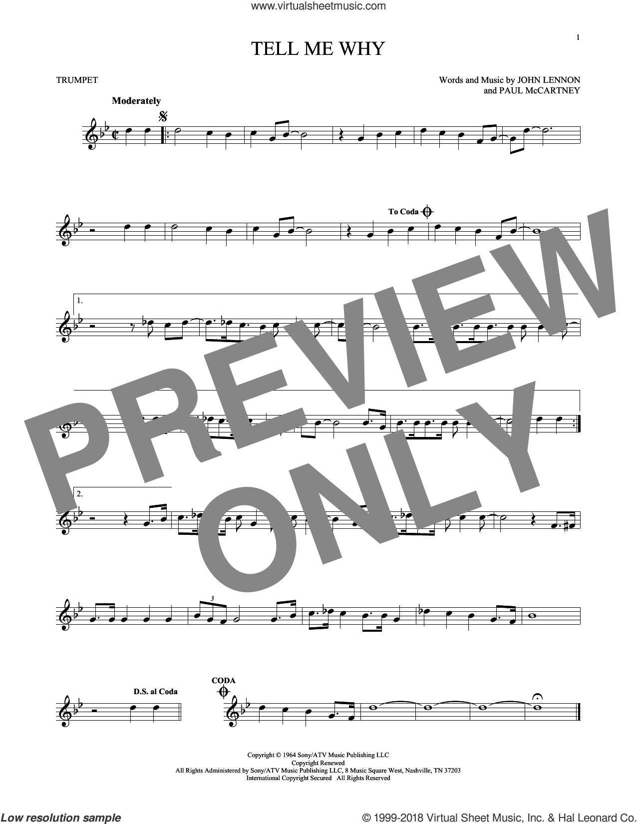 Tell Me Why sheet music for trumpet solo by The Beatles, John Lennon and Paul McCartney, intermediate skill level