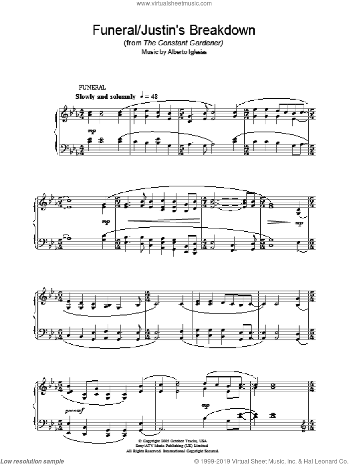 Funeral/Justin's Breakdown (from The Constant Gardener) sheet music for piano solo by Alberto Iglesias. Score Image Preview.