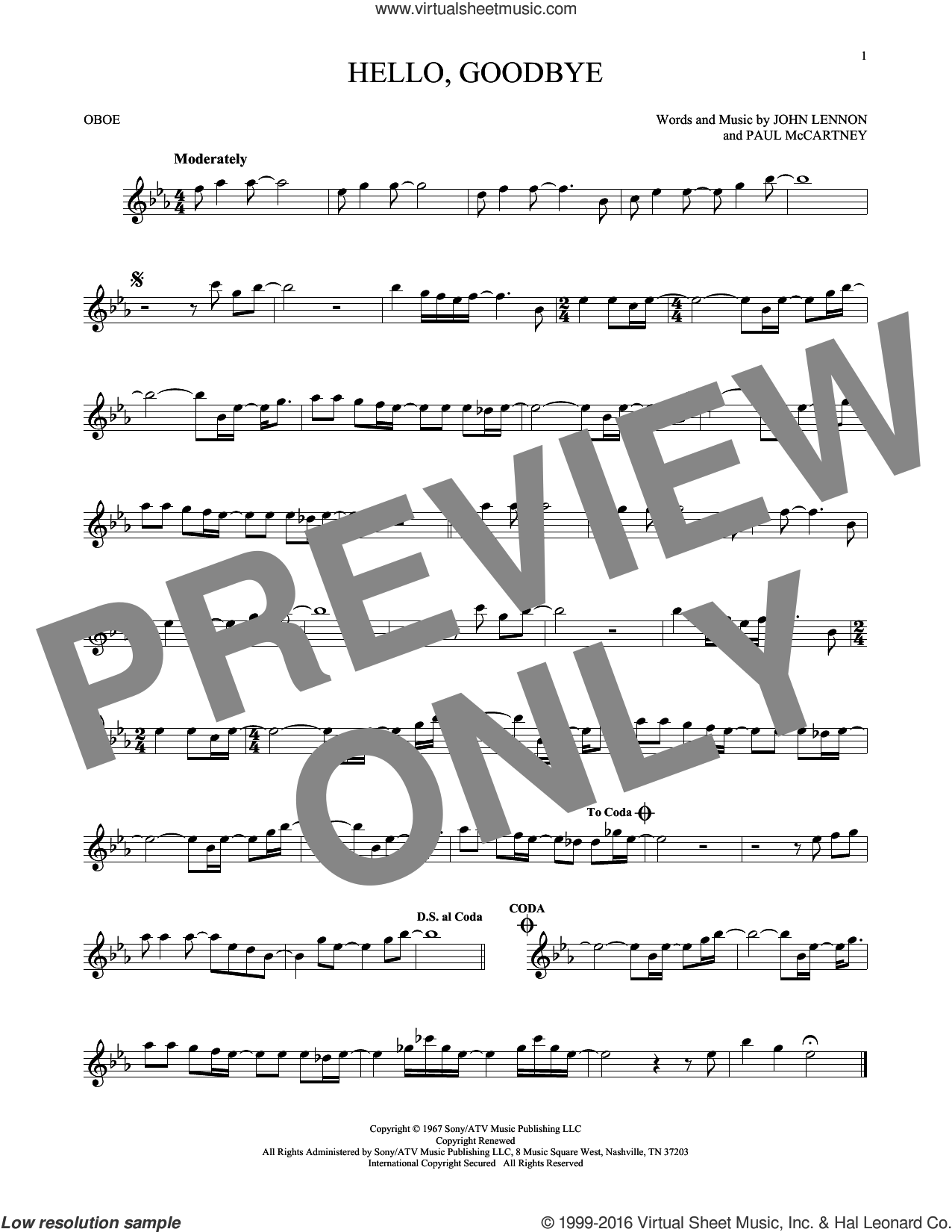 Hello, Goodbye sheet music for oboe solo by The Beatles, John Lennon and Paul McCartney, intermediate skill level