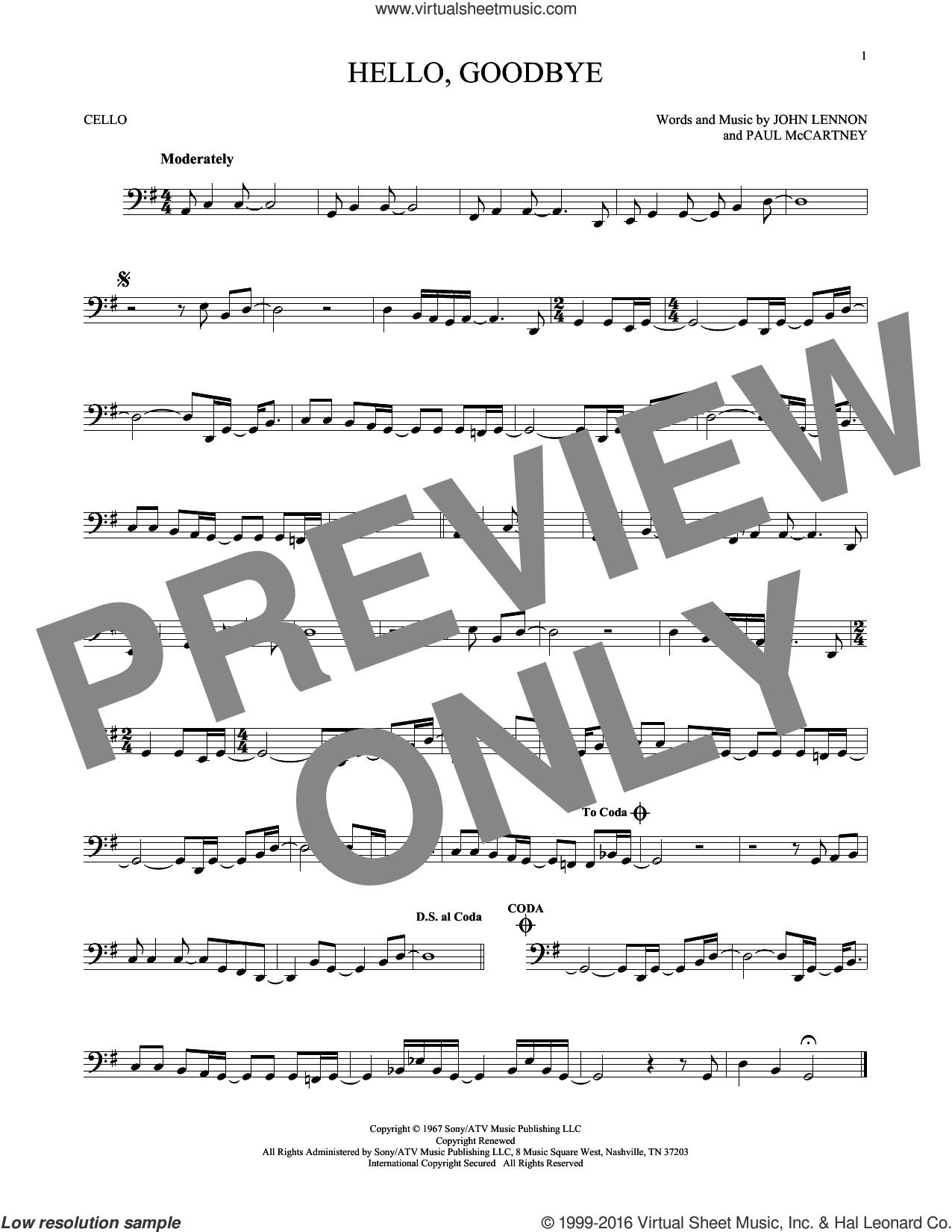 Hello, Goodbye sheet music for cello solo by The Beatles, John Lennon and Paul McCartney, intermediate skill level